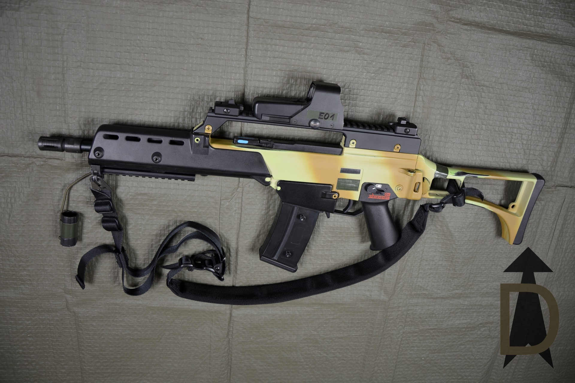 HK G36K - QD MFD, Kurzvisierschiene, MP7-Visierung, EOTech-Reflexvisier, 5.11 VTAC 2-Point-Padded-Sling